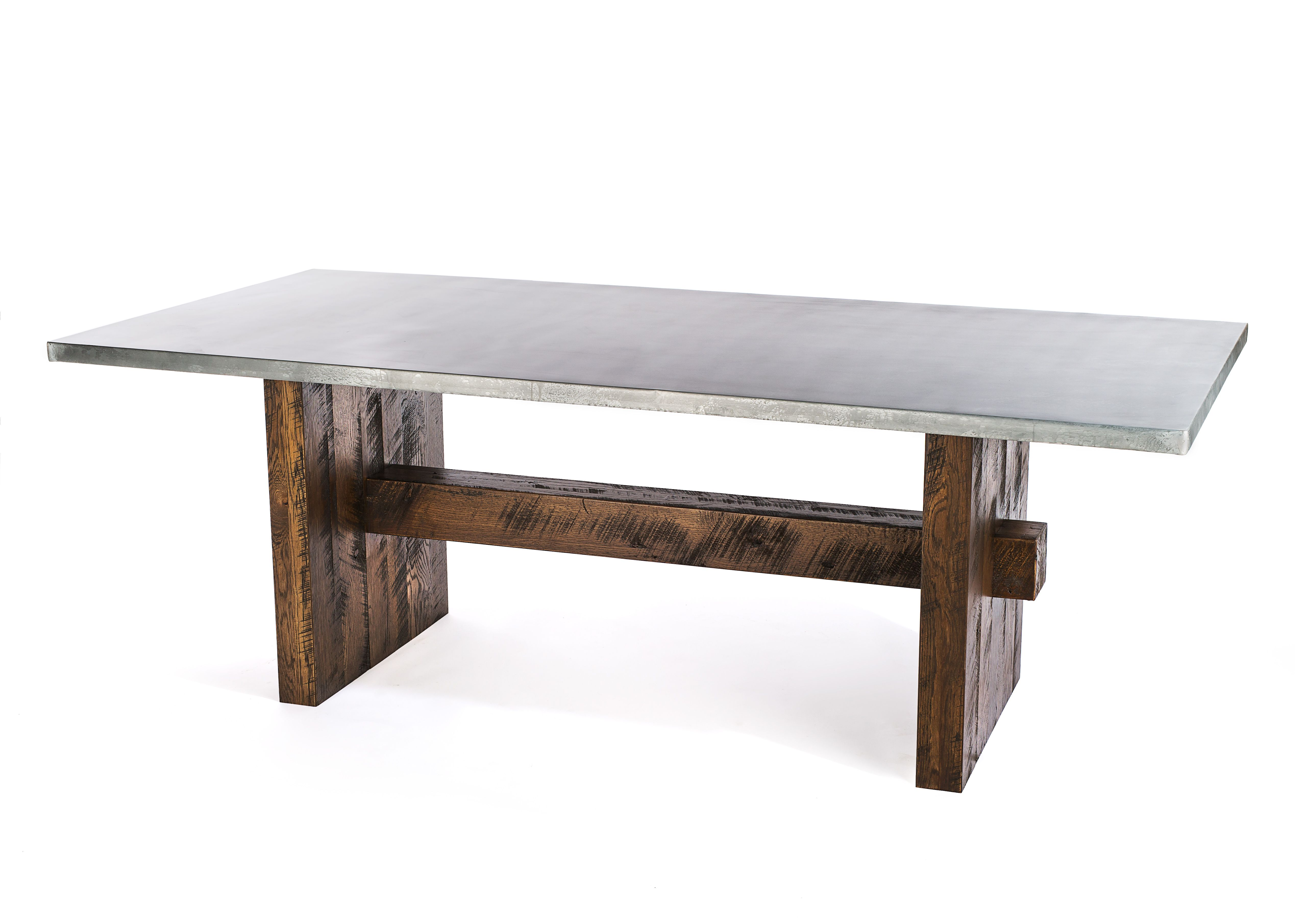 Custom Made Zinc Table Dining The Redford Rustic Trestle Top