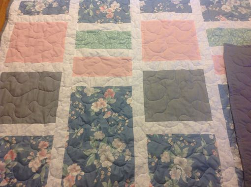 Custom Made Custom Window Pane Style Quilt Made From Bridesmaids' Dress Fabric