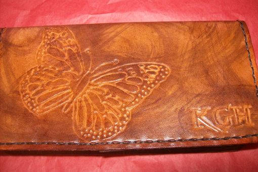 Custom Made Custom Leather Checkbook Cover With Butterfly And Personalization