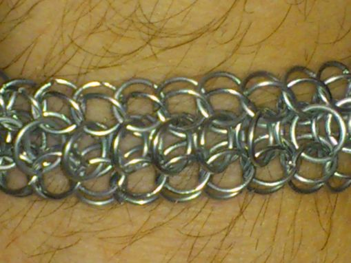 Custom Made Dragonback Chain Maille Men's Bracelet Galvanized Steel