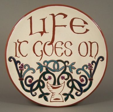 Custom Made Handmade 'Celtic Tree Of Life' Sgraffito  Redware Plate