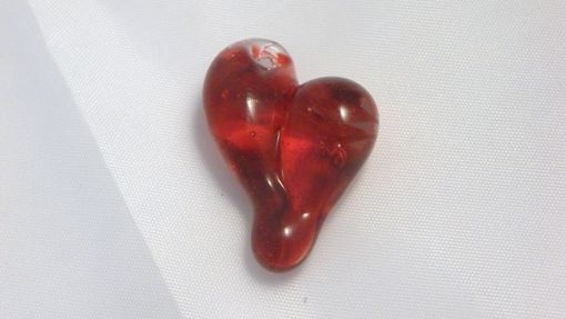 Custom Made Twisted Red Hand-Blown Glass Heart Pendant
