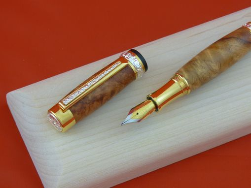 Custom Made Amboyna Burl Fountain Pen Set