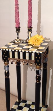 Custom Made Custom Hand Painted Side Accent Table