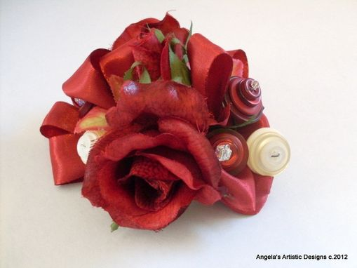 Custom Made Burgundy Flowers And Buttons Wrist Corsage