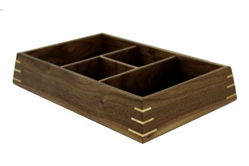 Custom Made Valet Box | Solid Black Walnut With Birdseye Maple Splines
