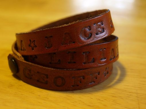 Custom Made Mothers Bracelet, Hand Stamped Leather Wrap Bracelet