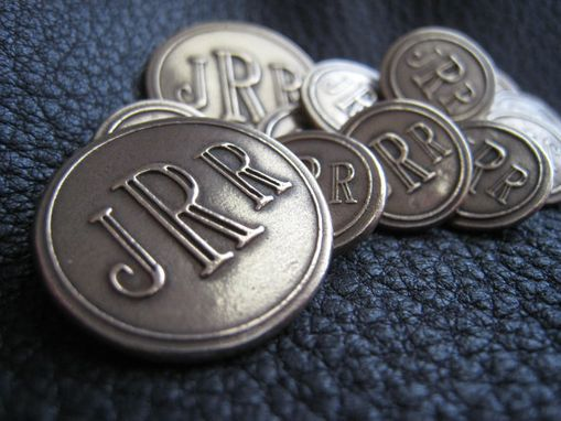 Custom Made Solid Bronze Monogrammed Blazer Button Set, Roman Letters