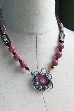 Custom Made Magenta Agate Slice Necklace