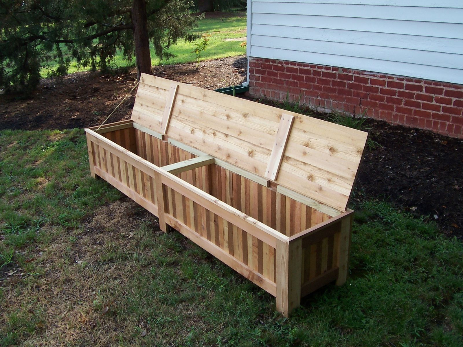 Hand Made Custom Western Red Cedar Patio Storage Bench By