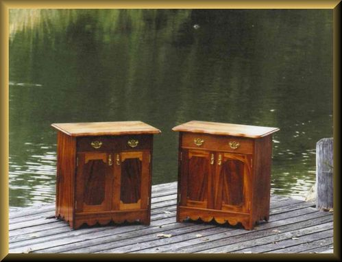 Custom Made Ribbon Stripe Genuine Mahogany Nightstands