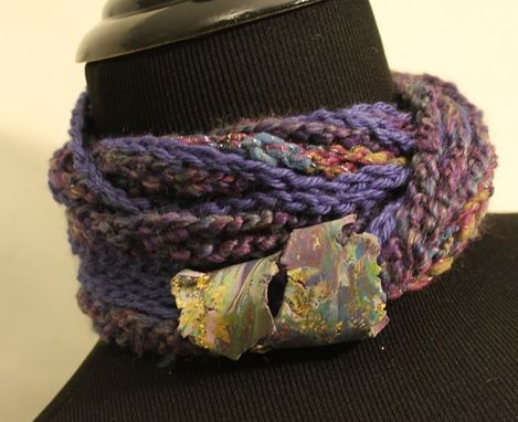 Custom Made Plums - Womens Twisted Scarf, Marbled Clay Gold Embossed Clasp