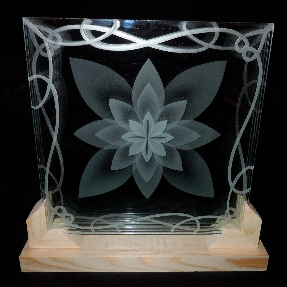 Hand Crafted Layered Stacked Glass Lotus Flower 3d Etching In