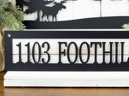 Custom Made Custom Family Name And Address Metal Signs, Moose, Pine Trees - Matte Black Shown