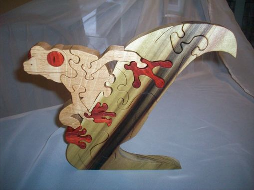 Custom Made White Oak, Poplar, Pauduk Frog Puzzle On Leaf.