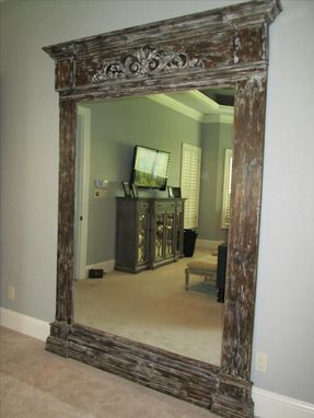 Custom Made Extra Large Dressing Mirror With Custom Made Frame Distressed Wood