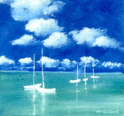 "Custom Made ""Five Boats"" Oil Painting By Cape Cod Artist Joe Gallant"