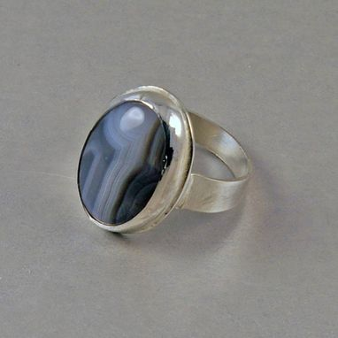 Custom Made Botswana Agate Sterling Silver Ring