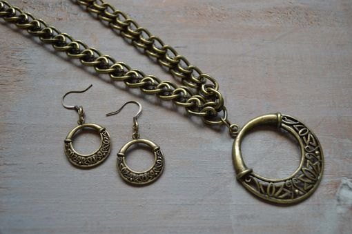 Custom Made Brushed Brass Necklace And Earring Set