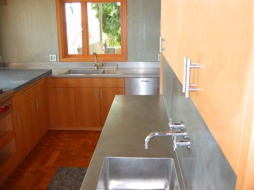 Hand made stainless steel countertops by custom metal home for Stainless steel countertops cost per sq ft