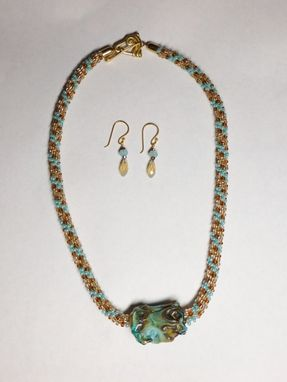 Custom Made Set - Turquoise And Champagne Kumihimo Necklace And Matching Earrings