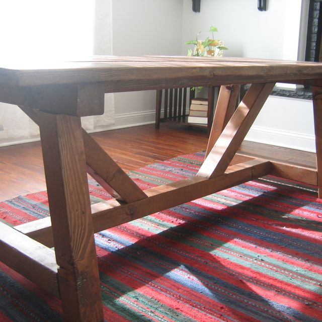 Hand Made Trestle Farmhouse Table Reclaimed Wood Dining Rustic By The Urban Co