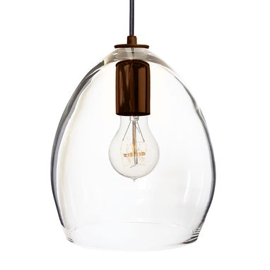 Custom Made Hand Blown Clear Glass Pendant Light Bronze