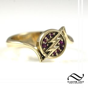 the flash 14k and ruby - Nerd Wedding Rings