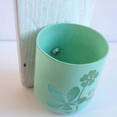 Custom Made Shabby Chic Wall Storage, Wall Hanging Containers, Pistachio Flower