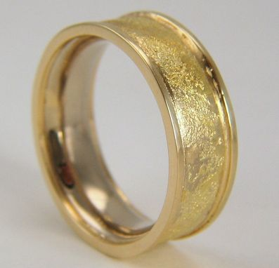 Custom Made Palladium White Gold, 14k Yellow Gold, And 18k Yellow Gold Textured Wedding Band