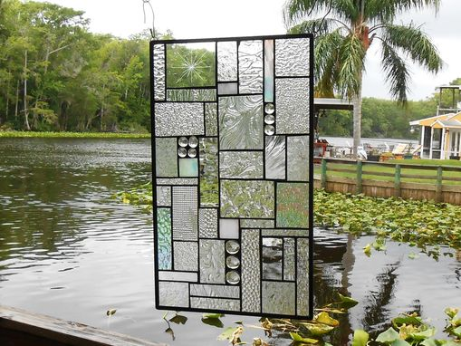 Custom Made Patchwork Quilt Stained Glass Window Panel Crazy Quilt In Crystal Clear
