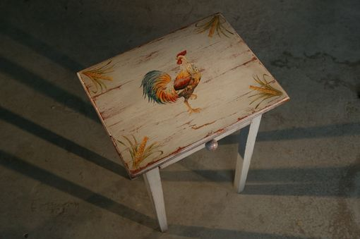 Custom Made End Table With Painted Rooster