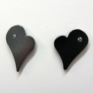 Custom Made Black Sterling Silver And Cz Heart Shape Studs
