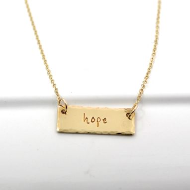 Custom Made Hand Stamped Bar One Word Necklace