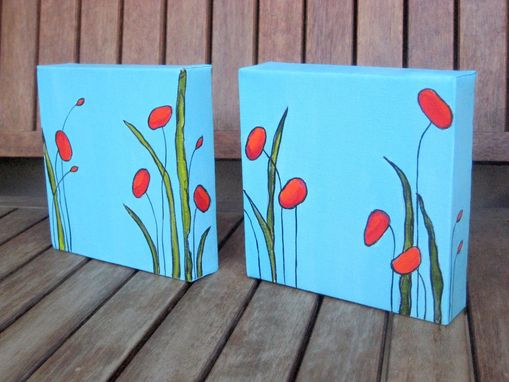 "Custom Made Original Poppies Painting Valentines Day Gift -6""X12"" Red Flowers"