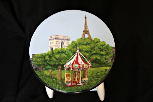 Custom Made Custom Painted Paris Themed Kitchen Stool