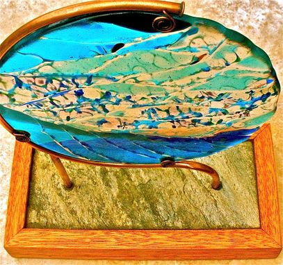 Custom Made Fused Glass Table Sculpture - Waimea Wave