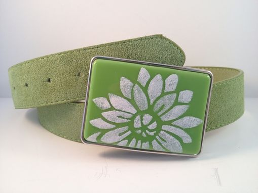 Custom Made Green Belt Buckle With Fused In Flower