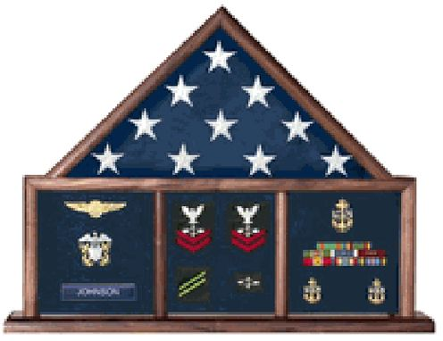 Custom Made Military 3 Bay Mantle Military Shadow Box