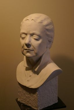 Custom Made Sculpture Of Thinking Woman Portrait Bust, Life Size, White Plaster
