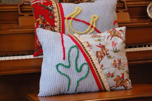 Custom Made Vintage Chenille Cactus And Cowboy Pillow