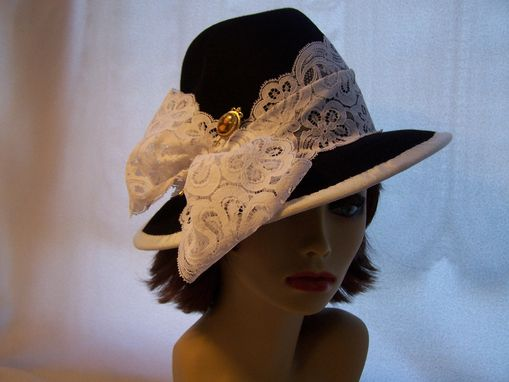 Custom Made Fur Felt Fedora With Lace Band And Vintage Pin