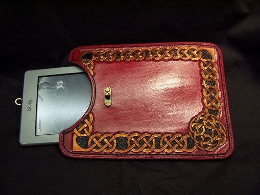 Custom Made Hand Carved Celtic Kindle Sleeve