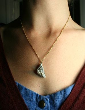 Custom Made Pyrite On Quartz Druzy / Drusy Cluster Necklace On Antique Genuine Brass Chain