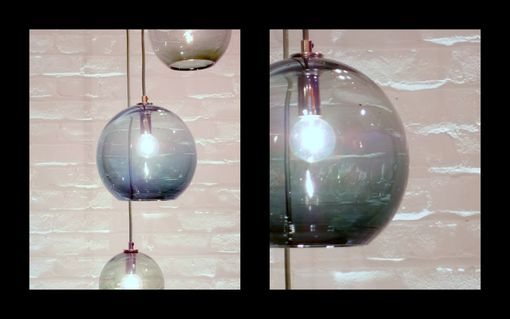 Custom Made Shades Of Grey Cluster Globe Pendant Hand Blown Glass