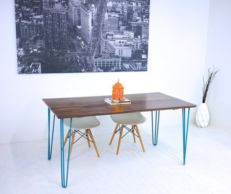 Custom Made Mid Century Modern Black Walnut Dining Table, Powder Coated, Hairpin Legs.