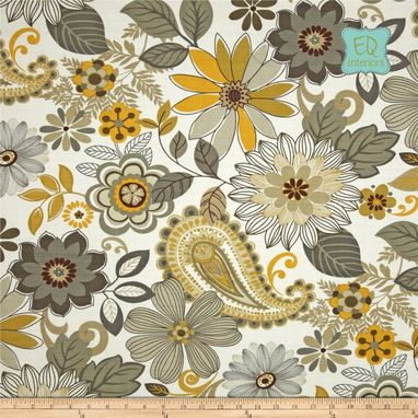 Custom Made Swavelle Mill Creek Loa Retro Floral In Bisque Gray Grey Yellow 90l Custom Curtains