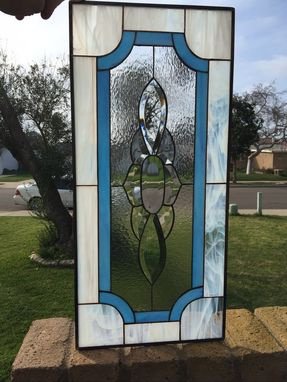Custom Made Wispy White & Blue Classic Beveled Stained Glass Window