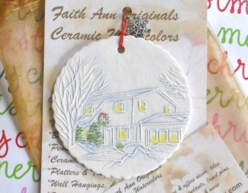 Custom Made Custom Your Home Ceramic Ornaments Holiday Gifts Keepsakes House Watercolor By Faith Ann Of Fao