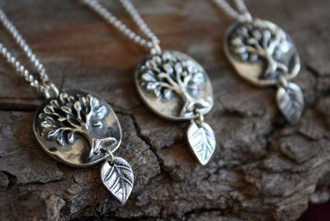 Custom Made Fine Silver Dancing Tree Necklace